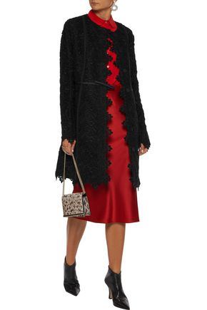 Giambattista Valli Woman Satin-Trimmed Cotton-Blend Guipure Lace Jacket Black