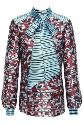 MARY KATRANTZOU Vedder pussy-bow printed  burnout satin blouse