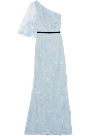 MARCHESA NOTTE One-shoulder floral-appliquéd embroidered tulle gown