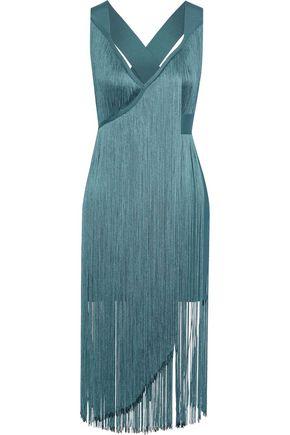 HERVÉ LÉGER فستان قصير بتصميم ضيق وملتفّ مزين بأشرطة