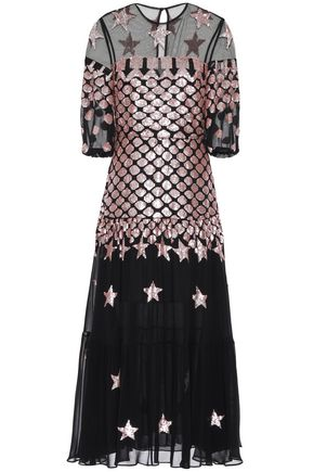 TEMPERLEY LONDON Sequin-embellished tulle and georgette midi dress