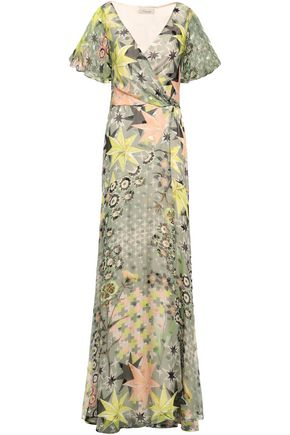TEMPERLEY LONDON Printed fil coupé silk-blend wrap dress