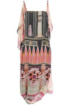 TEMPERLEY LONDON Athena draped printed silk-chiffon midi dress