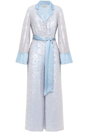 TEMPERLEY LONDON Bia belted sequined satin jumpsuit