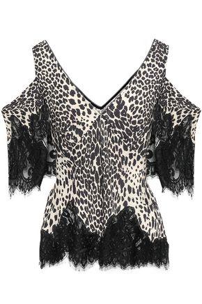 McQ Alexander McQueen Cold-shoulder lace-trimmed leopard-print crepe top