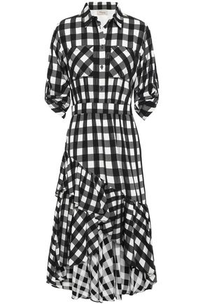 TEMPERLEY LONDON Stirling asymmetric checked woven dress