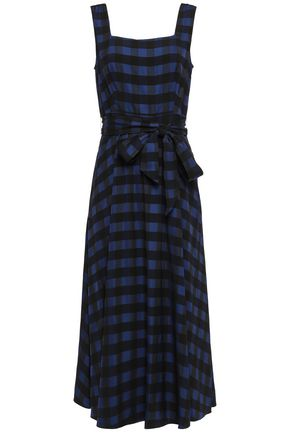 TEMPERLEY LONDON Stirling belted checked woven midi dress