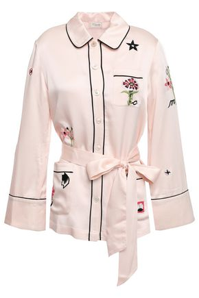 TEMPERLEY LONDON Georgie belted embroidered satin shirt