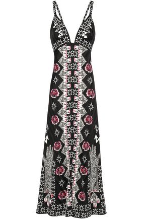 TEMPERLEY LONDON Flux printed satin-jacquard maxi dress