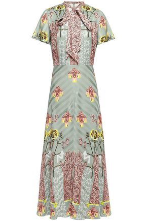 TEMPERLEY LONDON Flux pussy-bow printed satin-jacquard maxi dress