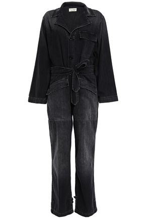 NILI LOTAN Aria belted faded denim jumpsuit