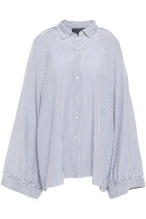 NILI LOTAN Leah oversized striped silk crepe de chine blouse