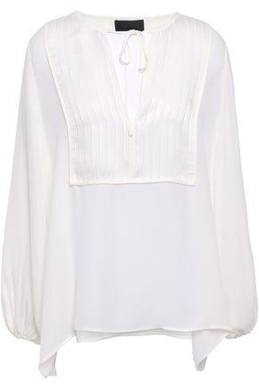 NILI LOTAN Rena georgette-paneled silk blouse