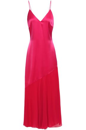 RACIL Zsa Zsa satin and chiffon midi slip dress