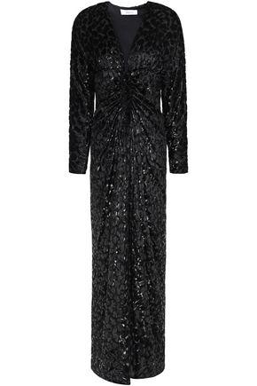 RACIL Rita ruched metallic devoré-velvet maxi dress