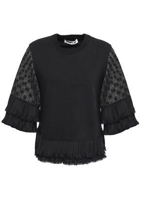 McQ Alexander McQueen Plissé-trimmed lace-paneled cotton blouse