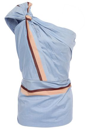 JOHANNA ORTIZ One-shoulder knotted ruched color-block cotton-voile top