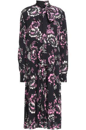 McQ Alexander McQueen Pussy-bow floral-print crepe de chine midi dress