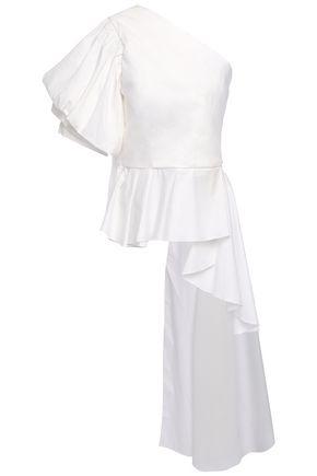 JOHANNA ORTIZ Pampas one-shoulder draped cotton-blend poplin top