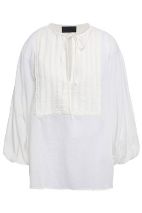 NILI LOTAN Amber pintucked cotton blouse