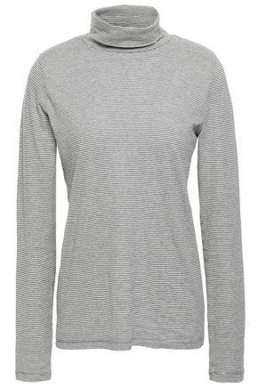 NILI LOTAN Striped cotton-jersey turtleneck top