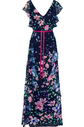MARCHESA NOTTE Ruffled floral-print fil coupé chiffon gown