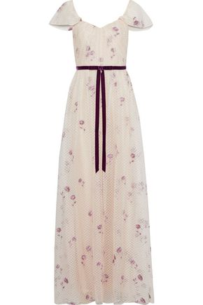 MARCHESA NOTTE Velvet-trimmed embroidered metallic point d'esprit gown