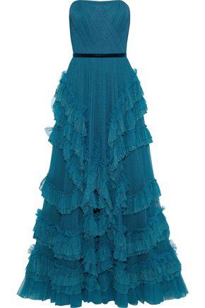 MARCHESA NOTTE Strapless ruffled point d'esprit gown