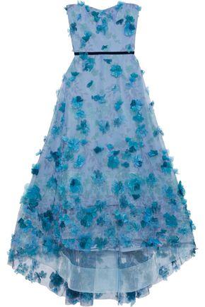 MARCHESA NOTTE Strapless appliquéd floral-print tulle gown