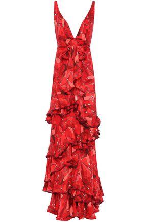 JOHANNA ORTIZ Ruffled satin-trimmed floral-print silk-crepe gown