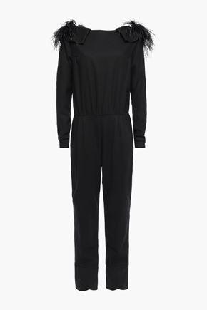 JOHANNA ORTIZ Feel Me embellished feather-trimmed wool-crepe jumpsuit