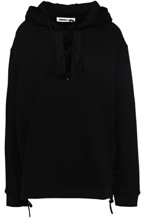 McQ Alexander McQueen Lace-up French cotton-blend terry hooded sweatshirt