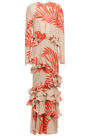 "JOHANNA ORTIZ فستان سهرة ""كاليفورنيا دريمينغ"" بطبقات من الكريب الحريري المطبع برسومات مع كشكش"