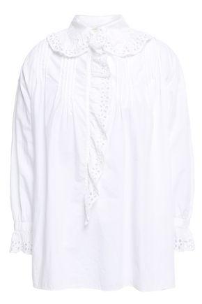 NILI LOTAN Mai ruffled broderie anglaise cotton blouse
