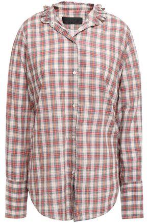 NILI LOTAN Ruffle-trimmed checked cotton-poplin shirt