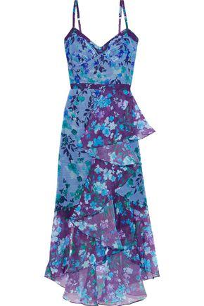 MARCHESA NOTTE Draped floral-print metallic chiffon midi dress