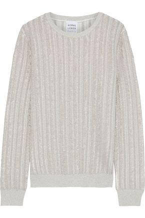 HERVÉ LÉGER Frayed metallic ribbed-knit sweater