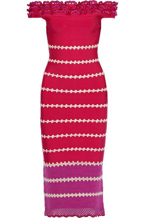 HERVÉ LÉGER Off-the-shoulder crochet-paneled embroidered bandage dress