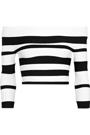 HERVÉ LÉGER Cropped off-the-shoulder striped bandage top