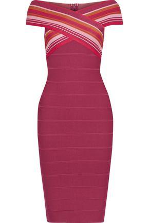 HERVÉ LÉGER Striped bandage dress