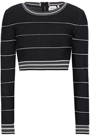 HERVÉ LÉGER Cropped striped bandage top