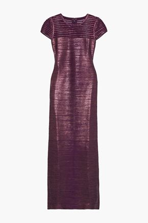 HERVÉ LÉGER Tulle-paneled metallic coated bandage gown