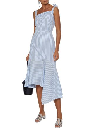 Adeam Woman Asymmetric Striped Cotton-poplin Midi Dress Sky Blue