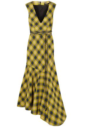 DEREK LAM Asymmetric checked cotton and wool-blend dress