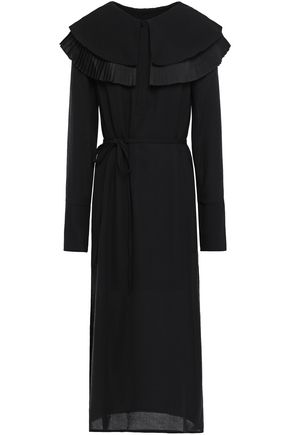 MOTHER OF PEARL Lennox belted pleated textured-crepe midi dress