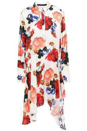 MOTHER OF PEARL Asymmetric floral-print satin dress