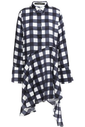 MOTHER OF PEARL April asymmetric checked satin mini shirt dress