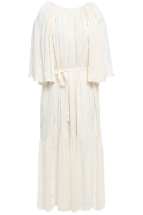 MOTHER OF PEARL Belted gathered satin-jacquard midi dress
