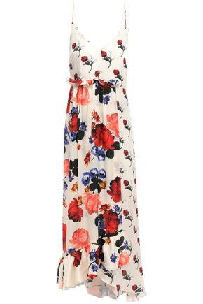 MOTHER OF PEARL Wrap-effect floral-print silk-satin midi dress