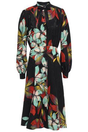 ETRO Pussy-bow floral-print satin-jacquard midi dress